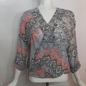 About A Girl Top Flowy Blue Red Surplice Hi Lo